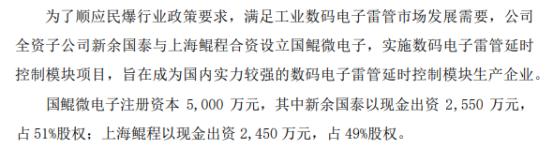 国泰集团全资子公司投资2550万元设立控股子公司国鲲微电子 持股51%