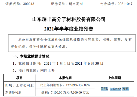 瑞丰高材2021年上半年预计净利7100万-7500万增长127%-140% 产销量同比增加