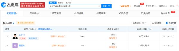 搜狗CEO王小川投资成立健康咨询公司,持股达99%