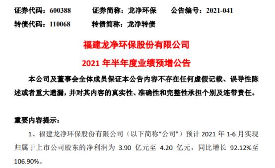 龙净环保2021年上半年预计净利3.9亿-4.2亿增长92%-107% 项目交付验收及时