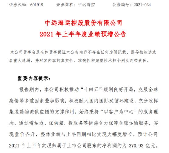 中远海控2021年上半年预计净利370.93亿 集装箱航运市场持续向好