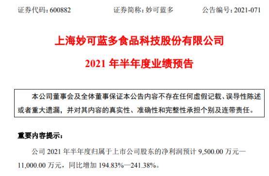 妙可蓝多2021年上半年预计净利9500万-1.1亿 同比增长194.83%-241.38%