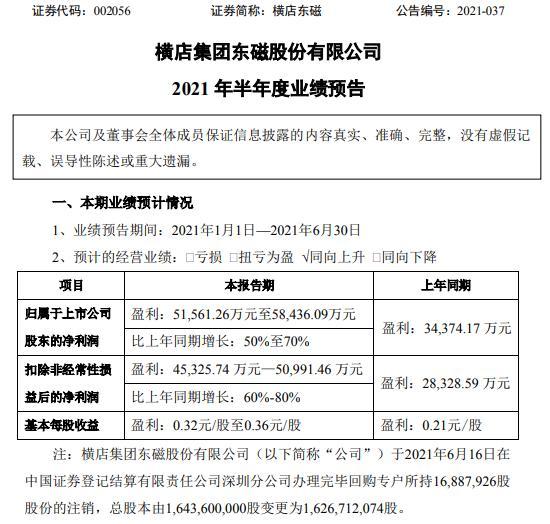 横店东磁2021年上半年预计净利增长50%-70% 各产业群效能进一步释放