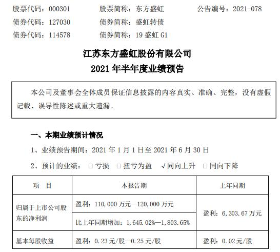 东方盛虹2021年上半年预计净利增长1645.02%-1803.65% 化纤石化行业下游需求明显改善