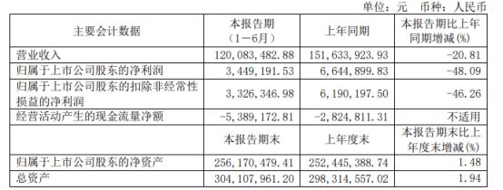 江泉实业2021年上半年净利344.92万下滑48.09% 电量生产和销售减少