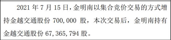 金越交通股东金明南增持70万股 权益变动后持股比例为89.82%