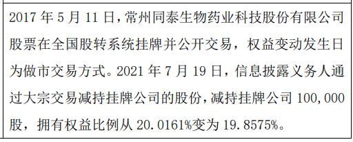 同泰生物股东减持10万股 权益变动后持股比例为19.86%