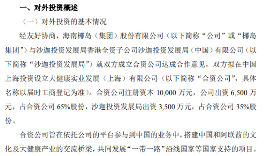 海南椰岛拟投资6500万元成立全资子公司沙迦投资发展局(中国)有限公司 持股65%