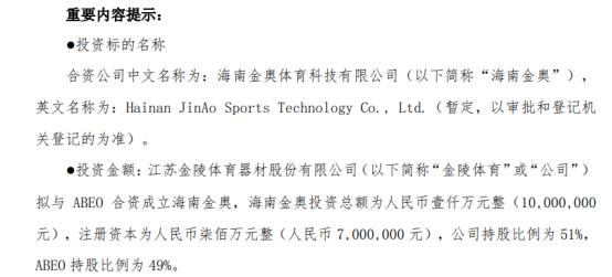 金陵体育拟对外投资357万元设立控股子公司海南金奥体育科技有限公司 持股51%