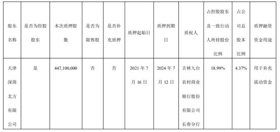 庞大集团控股股东深商北方质押4.47亿股 用于补充流动资金