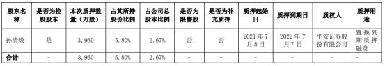 木林森控股股东孙清焕质押3960万股 用于置换到期质押融资