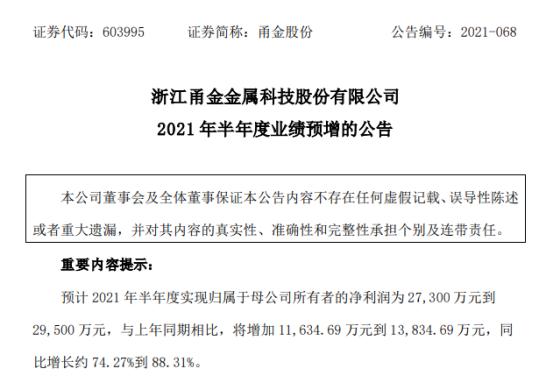 甬金股份2021年上半年预计净利2.73亿-2.95亿增长74%-88% 下游需求旺盛