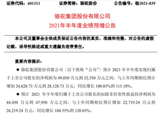 骆驼股份2021年上半年预计净利4.91亿-5.26亿增长101%-115% 汽车用电池销售稳中有升