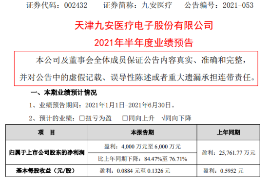 九安医疗2021年上半年预计净利4000万-6000万下降77%-84% 国内照护中心数量大幅增加