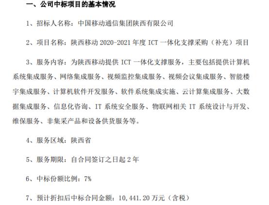宜通世纪中标陕西移动2020-2021年度ICT一体化支撑采购(补充)项目 中标价1.04亿(含税)