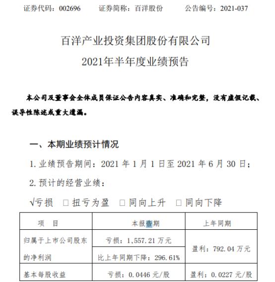 百洋股份2021年上半年预计亏损1557.21万同比由盈转亏 饲料原料价格及海运费持续上涨
