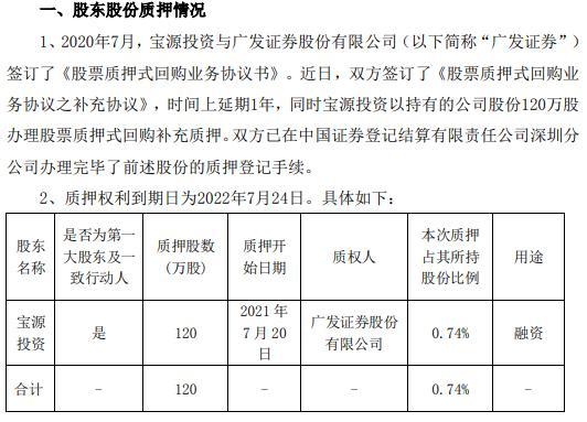 红宝丽第一大股东宝源投资质押120万股 用于融资