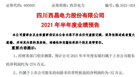 西昌电力2021年上半年预计亏损274万 外购电量同比增长