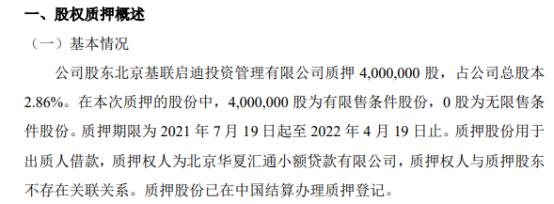 中航泰达股东质押400万股 用于出质人借款