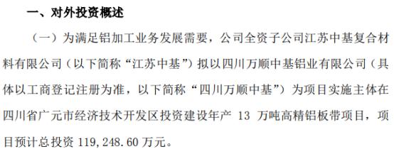 万顺新材全资子公司投资11.92亿元建设年产13万吨高精铝板带项目