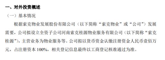 索克物业拟投资100万元设立全资子公司河南索克桂源物业服务有限公司