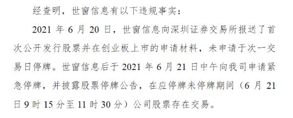 世窗信息收警示函:报送创业板申请材料后未及时申请停牌