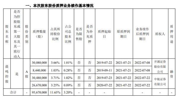 晨鸣纸业股东晨鸣控股合计质押9567万股 用于融资