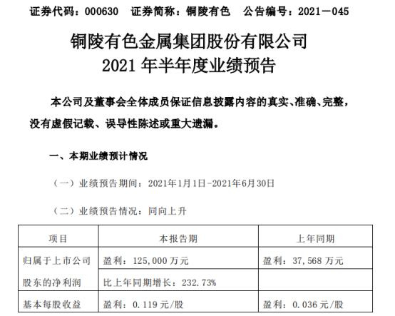 铜陵有色2021年上半年预计净利12.5亿增长232.73% 各项主营业务均稳健发展