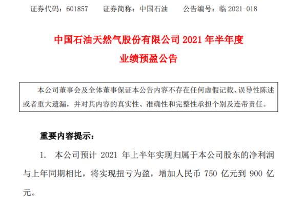 中国石油2021年上半年预计净利将增加750亿-900亿 油气产品需求增长