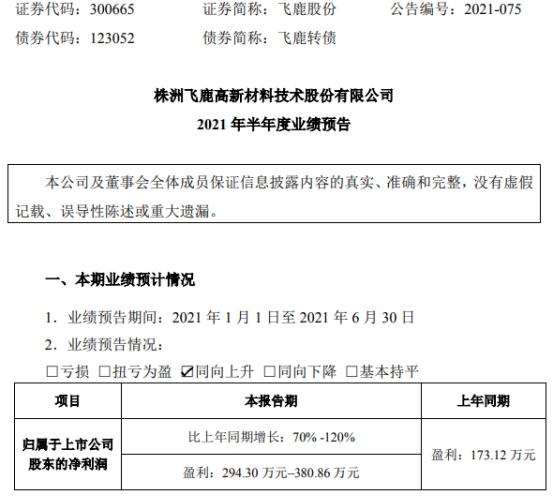 飞鹿股份2021年上半年预计净利294.3万-380.86万增长70%-120% 轨交核心业务增长