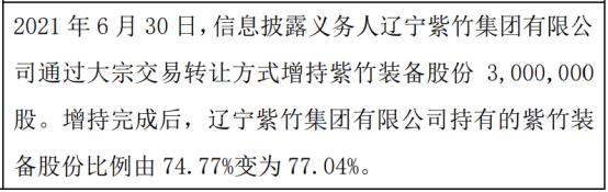 紫竹装备股东增持300万股 权益变动后持股比例为77.04%