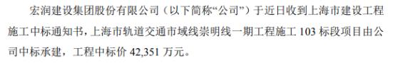 宏润建设中标上海市轨道交通市域线崇明线一期工程施工103标段项目 中标价4.24亿