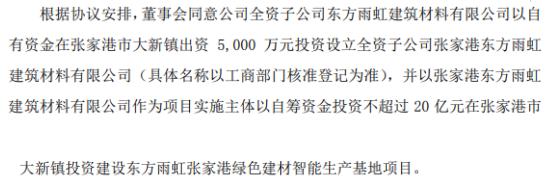 东方雨虹投资不超过20.5亿元在张家港市大新镇设立全资子公司及建设绿色建材智能生产基地项目