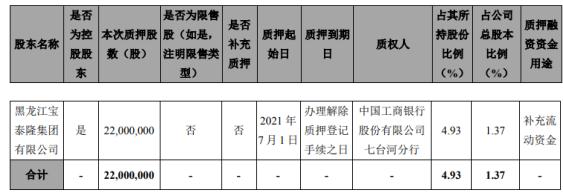 宝泰隆控股股东宝泰隆集团质押2200万股 用于补充流动资金