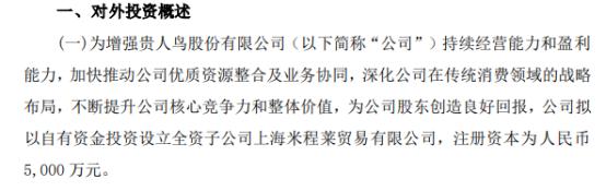 *ST贵人拟以自有资金5000万元投资设立全资子公司上海米程莱贸易有限公司
