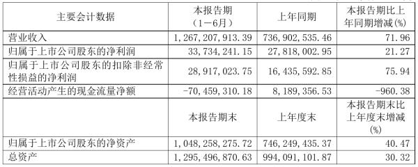 有研粉材2021年半年度净利3373.42万元 同比净利增加21.27%