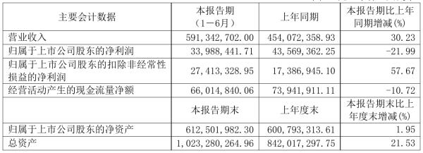 迪生力2021年半年度净利3398.84万元 同比净利减少21.99%