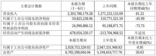 亚士创能2021年半年度净利5982.52万元 同比净利减少45.99%