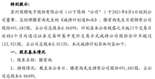 苏州固锝总经理滕有西拟减持不超12.29万股公司股份 一季度公司净利5040.59万