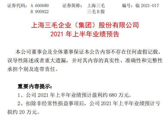 上海三毛2021年上半年预计净利约680万同比扭亏为盈 保安服务和物业租赁业务利润同比基本持平