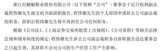 红蜻蜓副总裁程伟雄辞职 一季度公司净利2088.01万