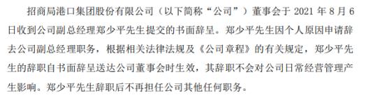 招商港口副总经理郑少平辞职 2020年薪酬为260万