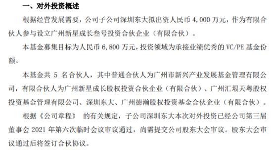 龙江交通子公司深圳东大拟出资4000万元投资设立广州新星成长叁号投资合伙企业(有限合伙)