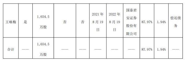 金能科技控股股东王咏梅质押1654.5万股 用于偿还债务