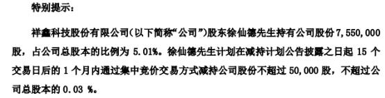 祥鑫科技股东徐仙德拟减持不超5万股公司股份 一季度公司净利3129.32万