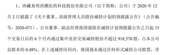 易明医药副总经理庞国强拟减持不超91.86万股公司股份 一季度公司净利525.91万
