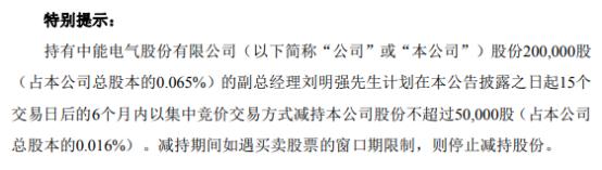 中能电气副总经理刘明强拟减持不超5万股公司股份 一季度公司净利377.33万