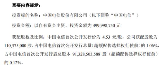 安恒信息以自有资金5亿元参与认购中国电信首次公开发行战略配售