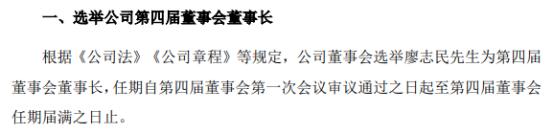 金达莱选举廖志民为董事长 一季度公司净利9244.97万