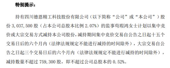 德恩精工监事苟瑕鸿拟减持不超75.93万股公司股份 一季度公司净利1192.86万